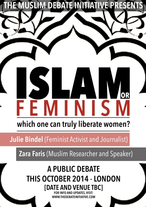 "Upcoming Feminism Debate with Julie Bindel: ""Islam or Feminism: which one can truly liberate women?"""