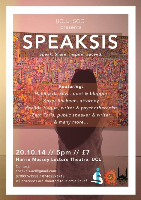 UPCOMING EVENT on MONDAY 20th OCTOBER: SPEAKSIS at University College London (UCL), UK